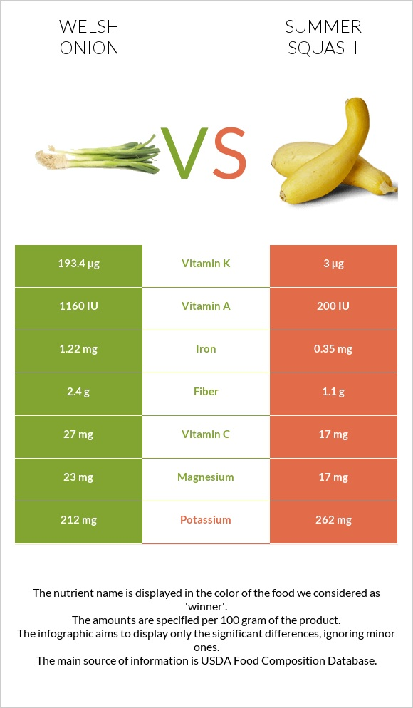 Welsh onion vs Summer squash infographic