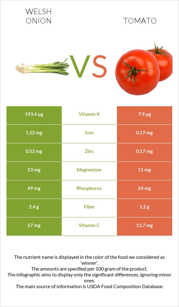 Welsh onion vs Tomato infographic