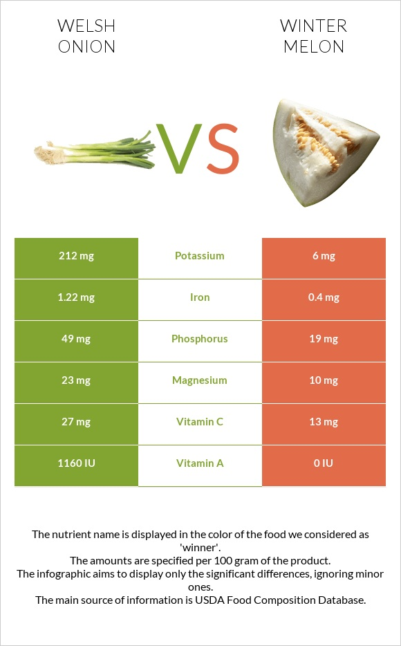 Welsh onion vs Winter melon infographic