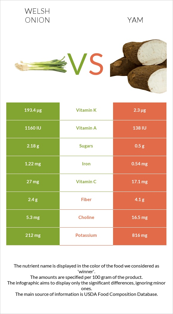 Welsh onion vs Yam infographic