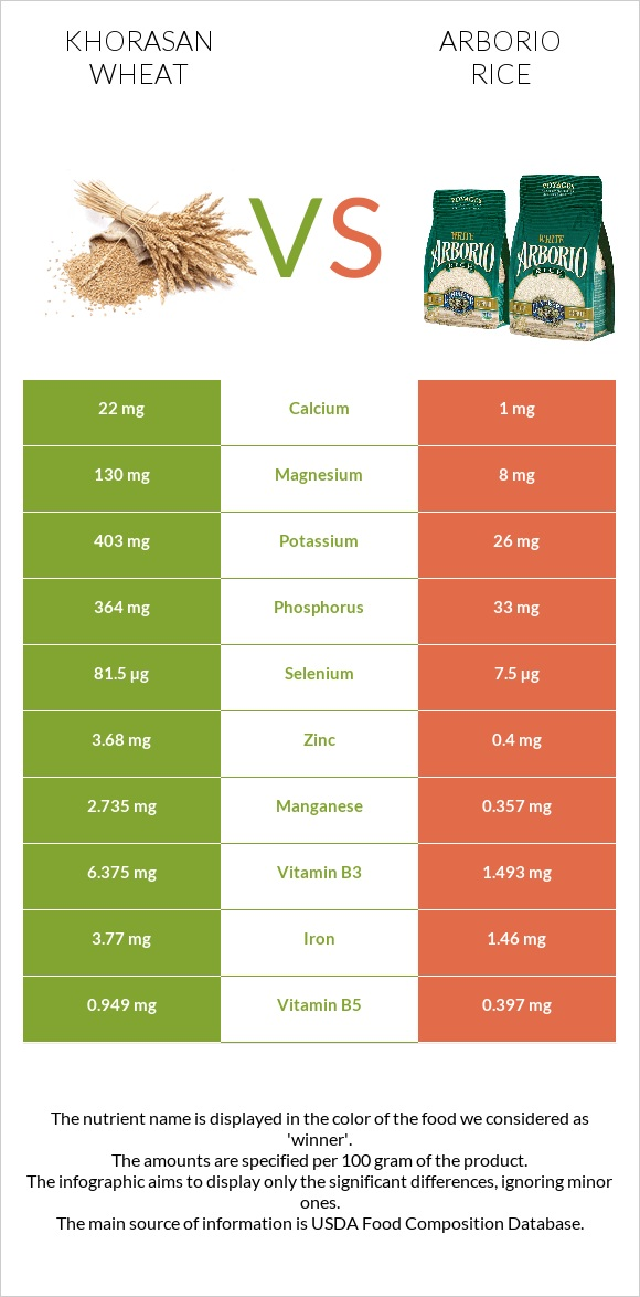 Khorasan wheat vs Arborio rice infographic