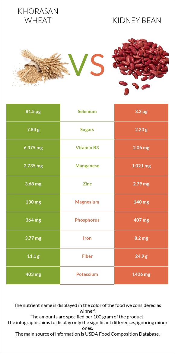 Khorasan wheat vs Kidney bean infographic
