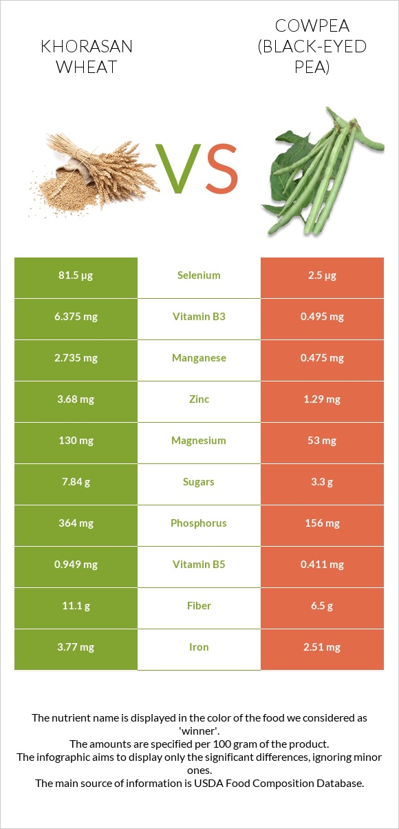 Khorasan wheat vs Cowpea infographic