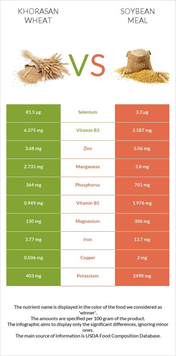 Khorasan wheat vs Soybean meal infographic