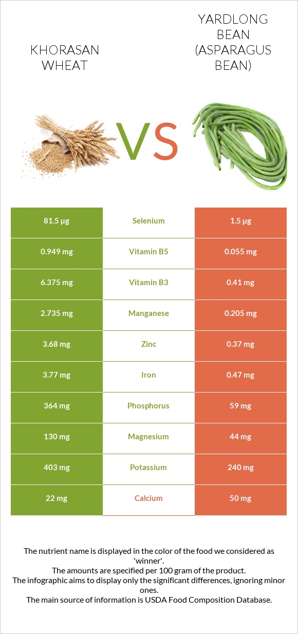 Khorasan wheat vs Yardlong bean infographic
