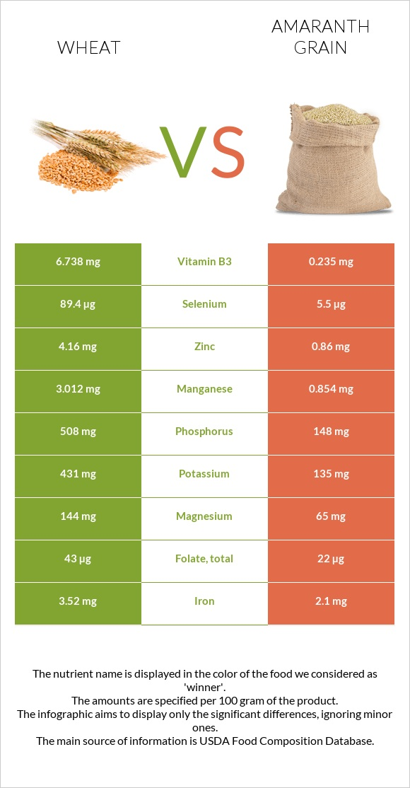 Wheat vs Amaranth grain infographic