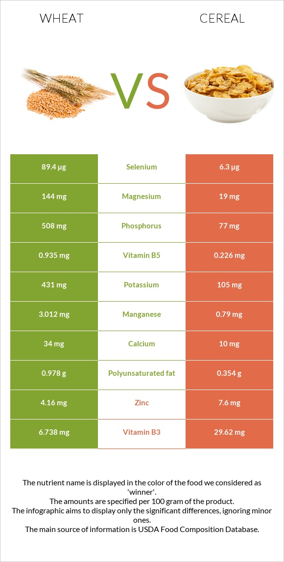 Wheat vs Cereal infographic