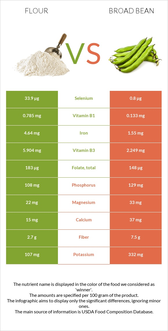 Flour vs Broad bean infographic