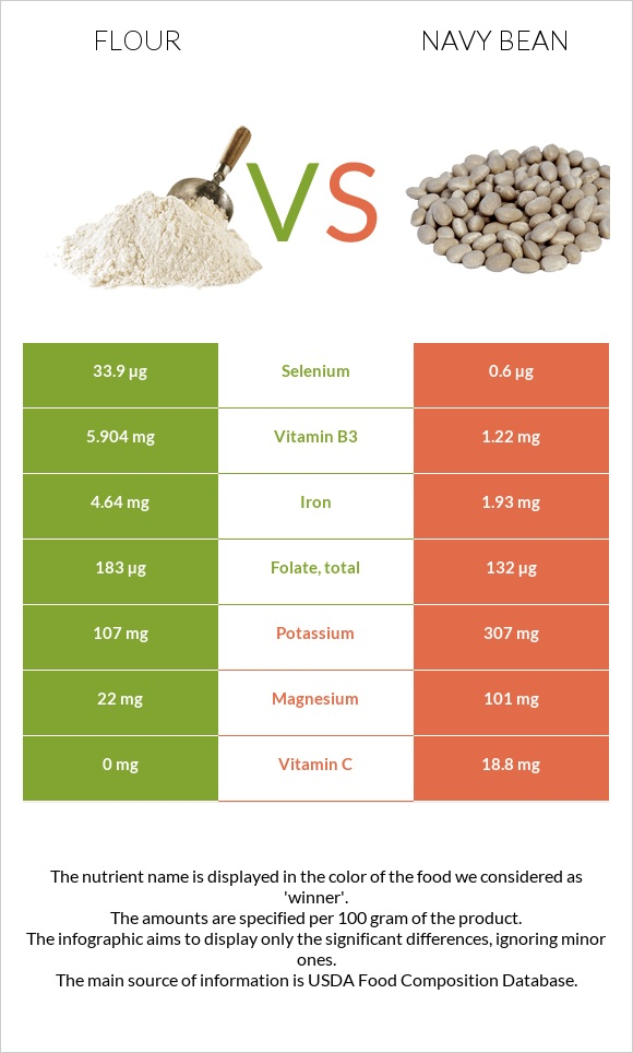 Flour vs Navy bean infographic