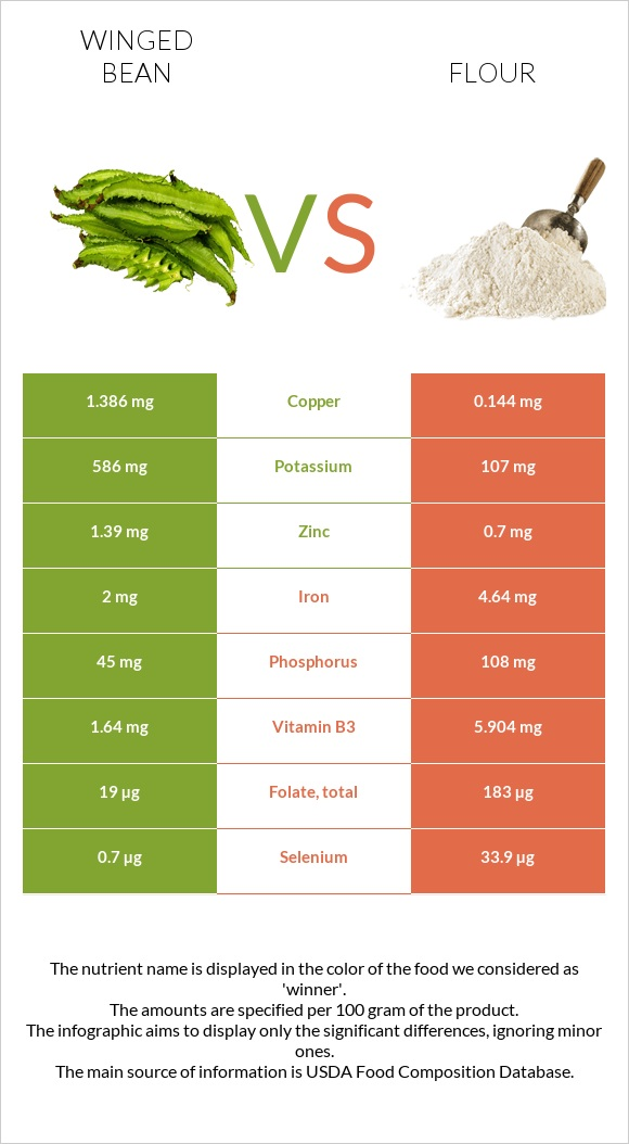 Winged bean vs Flour infographic