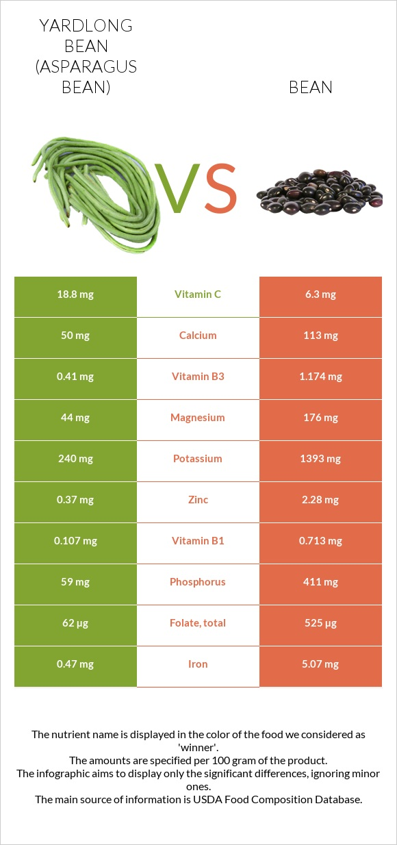Yardlong bean vs Bean infographic