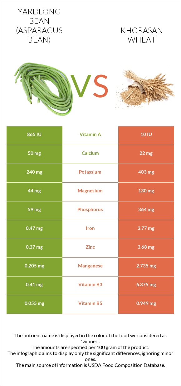 Yardlong bean vs Khorasan wheat infographic