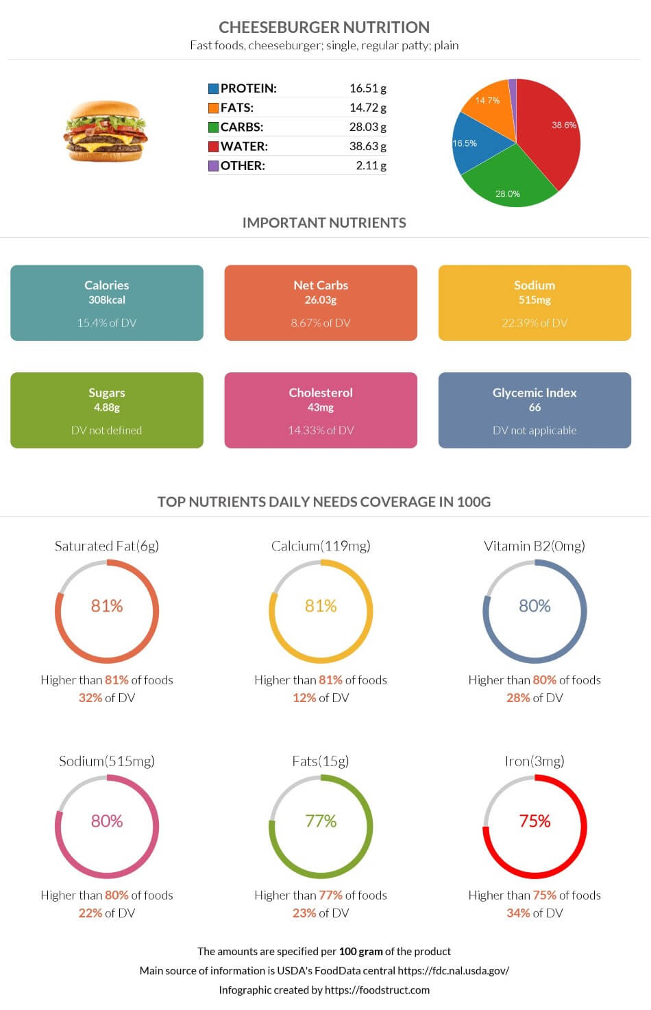 Cheeseburger nutrition infographic